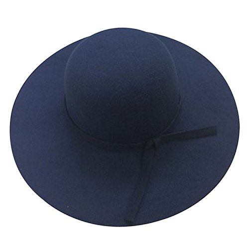 ylovego New Stylish Vintage Women's Sunhat Lady with Wide Brim Wool Bowler Fedora Hat Sun Beach Bowknot Cap 126 Navy