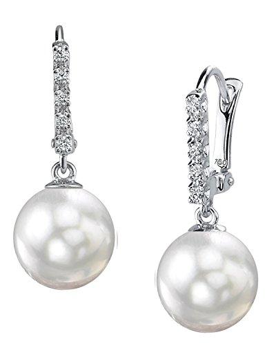 18K Gold 9.0-9.5mm White Akoya Cultured Pearl & Diamond Britney (18k Wg Pearl)