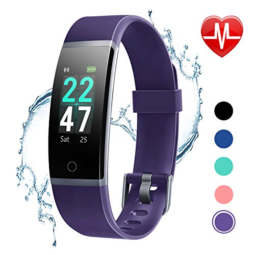 LETSCOM Fitness Tracker with Heart Rate Monitor, Color Screen Activity Tracker Watch, IP68 Waterproof Pedometer Watch Sleep Monitor Step Counter for Women Men Kids (Best Activity Tracker For Sleep)