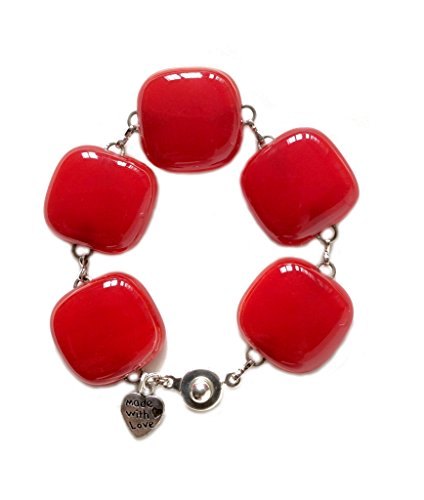 Handmade Fused Glass Solid Red Link Bracelet by Gerty