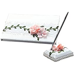 KateMelon Lace and Fabric Flower Wedding Guest Book and Pen Set