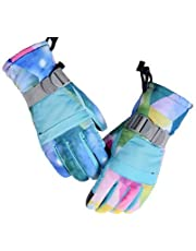 Adults Big Kids Ski Snowborad Winter Snow Waterproof Gloves with Touch Screen (LILY BLUE, XS (7-9 YEARS))