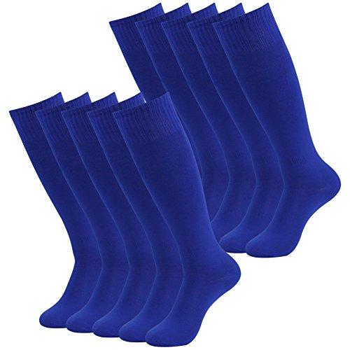 (3street Unisex Youth Over Knee High Resistor Comfortable Athletic Hockey Soccer Tube Socks Blue 10-Pairs)
