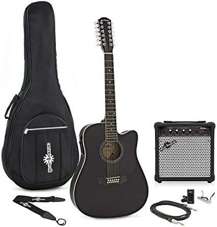 Guitarra Electroacustica Dreadnought de 12 Cuerdas + Pack de Ampli - Negro