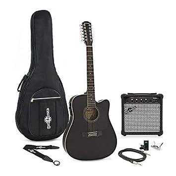 Guitarra Electroacústica Dreadnought de 12 Cuerdas + Pack de Ampli - Negro