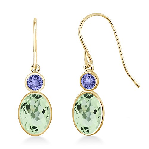 2.24 Ct Oval Green Amethyst Blue Tanzanite 14K Yellow Gold Earrings 14k Yellow Gold Tanzanite Earrings