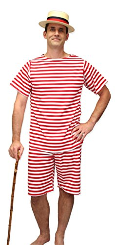 Historical Emporium Men's 1900s Striped Bathing Suit S Red/White -