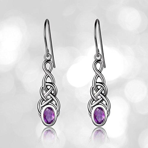 Sterling Silver Genuine African Amethyst Celtic Knot Linear Drop Earrings