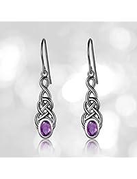 Sterling Silver Created or Genuine Gemstone Celtic Knot Linear Drop Earrings