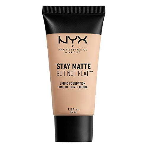 NYX PROFESSIONAL MAKEUP Stay Matte but not Flat Liquid Foundation, Porcelain, 1.18 Fluid Ounce