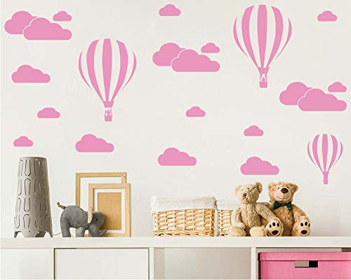 (Giant Removable Vinyl 3D Hot air Balloons with Clouds Wall Decals DIY Wall Stickers Nursery Decor Kids Bedroom art Decoration Girls Rooms Decal Child Sticker Home Walls Decal (White) D952 (Light Pink))