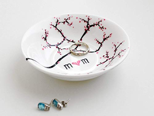 (Ring Dish, Cherry Blossom Branch Jewelry Bowl, Personalized Gift For Mom, Personalized Jewelry Bowl)