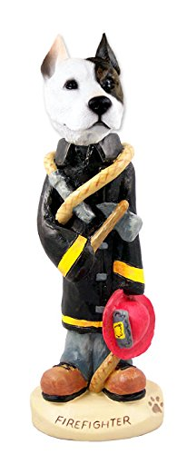 (Pit Bull Terrier Fireman Doogie Collectable Figurine)