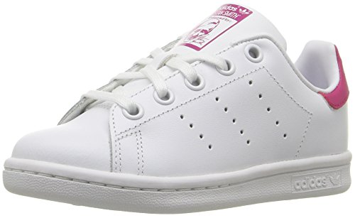 adidas Originals Girls' Stan Smith C Skate Shoe, White/White/Bold Pink, 13 Medium US Little Kid (Adidas Tennis Sneakers)