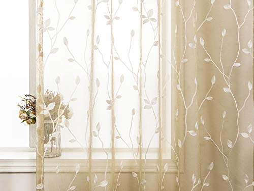 AmHoo Floral Leaf Embroidery Semi Sheer Curtain Rod Pocket Voile Sheer Curtains Set of 2 for Living Bedroom Window Treatment (Linen, 53 x 84)]()