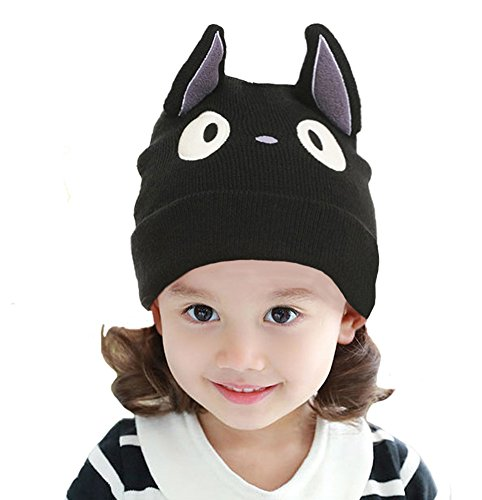 Myosotis510 Cute Parent-child Knitted Cat Bear Ear Cap Beanie Black ()
