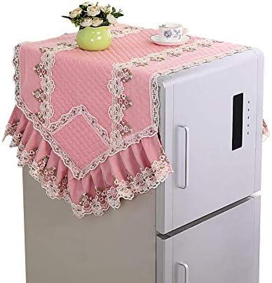 [JPバレンタインデー]冷蔵庫ダストカバー 冷蔵庫カバー 洗濯機カバー 汚れ防止カバー 冷蔵庫タオル 冷蔵庫アクセサリー 新品 レース 装飾品 防塵 防水 ほこり防止 上品 (ピンク,L)
