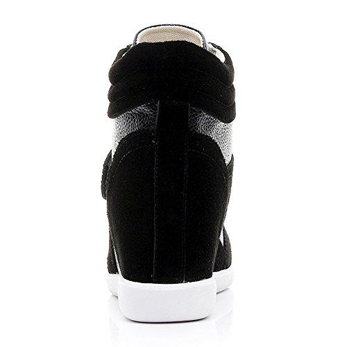 rismart Suede Confortable Mignon Chaussures Femmes Compensee Classique Mode amp;Tissu Baskets Boucle SqPSrHw