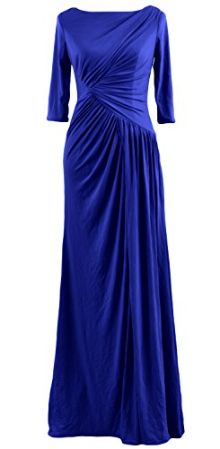 Dress Blue MACloth Jersey Half Royal Women Neck Gown Long Boat Sleeve Celebrity Evening v7FBqwv