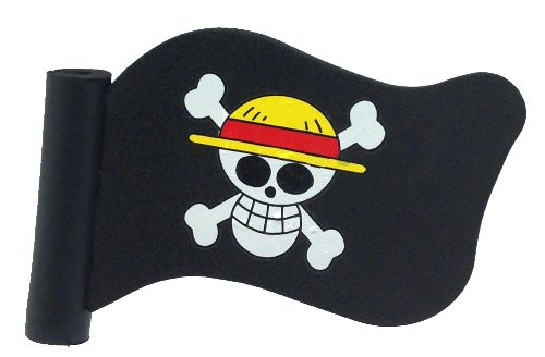 Pirate Antenna Topper - White Skull with Yellow Red Explorer Hat & Crossbones Black Pirate Flag Car Truck SUV Pen Pencil Antenna Topper