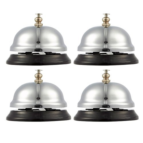 - Call Bell - 4-Pack Customer Service Bell, Office Desk Bell, Ringing Bell - for Home, Store or Hotel, Small, Silver, 2.5 x 2 x 2.5 Inches