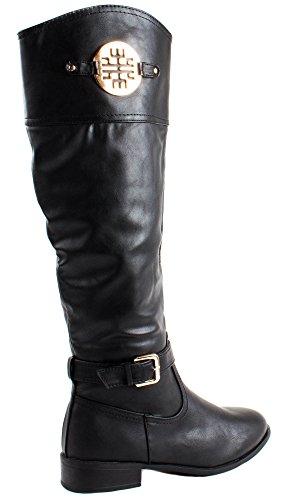 Botas Altas De Cuero De Imitación Asiana-76 De Bamboo Para Mujer De Color Negro Con Metal Decorativo