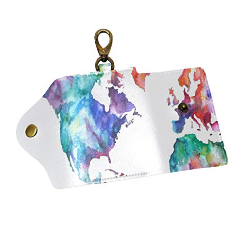 Key Organizer Personalized Vintage World Map Watercolor Key Holder Leather Car Key Case Fob Cover -