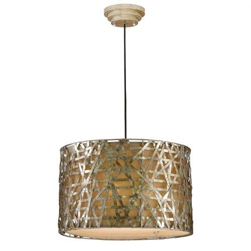 Modern 3-Light Drum Ceiling Pendant Light, Champagne Satin Metal Finish Light Lamp Ceiling Pendant Antique Shade Industrial Svitlife