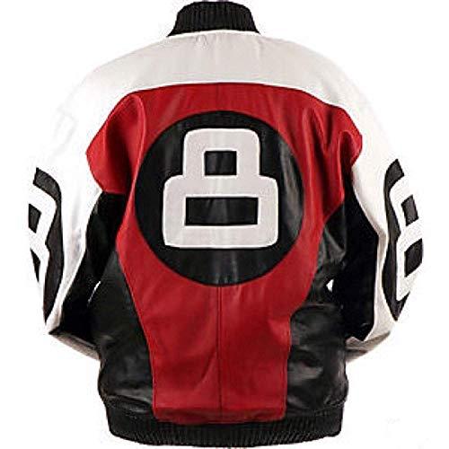 LP-FACON Mens 8 Logo Subway Bomber Biker Retro Letterman Leather Jacket