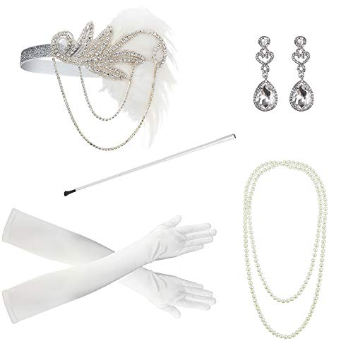 1920s Accessories for Women Headpiece Earrings Cigarette Holder Necklace Gloves Flapper Costume Set]()