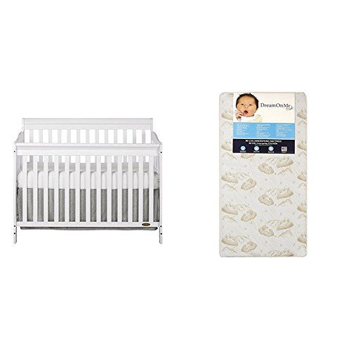 Dream On Me Ashton 5 in 1 Convertible Crib with Dream On Me Spring Crib and Toddler Bed Mattress, - Crib Pecan 1