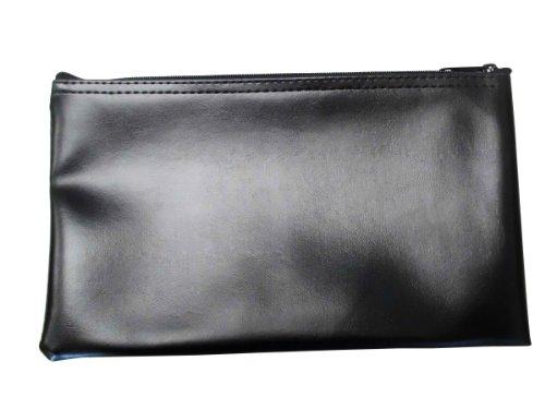 (Vinyl Zipper Bags (Leatherette) Small, Compact Zippered Pouches | Portable Travel Utility | Check Wallet, Toiletries, Makeup, Cosmetics, Tools | Men, Women | Black)