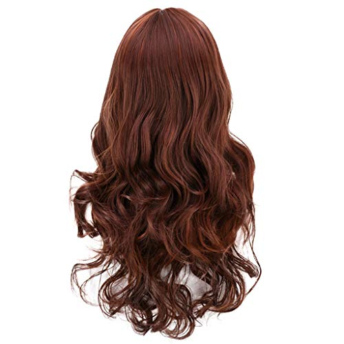 Dark Brown Curly Wig Hair Rose Net None Lace Front Wigs Synthetic Loose Curly Wigs Heavy Density Glueless Lace Wigs for Women (a)