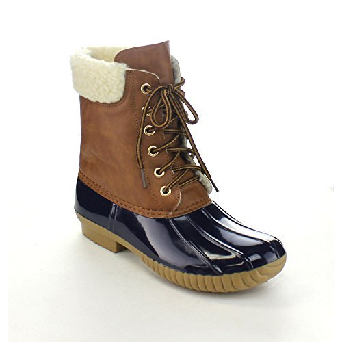 AXNY Dylan-3 Women's Two Tone Lace Up Ankle Rain Duck Boots One Size Small,Navy,11
