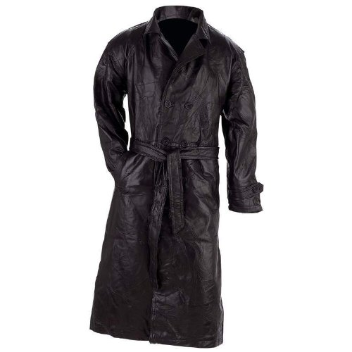 Giovanni Navarre Italian Stone Design Genuine Leather Trench Coat- Xl]()
