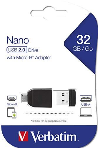 Verbatim 32GB Nano USB Flash Drive with USB OTG Micro Adapter - Black