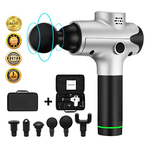 Massage Gun,Deep Tissue Percussion Muscle Massager for Pain Relief, Handheld Electric Body Massager Sports Drill Portable Super Quiet Brushless Motor,20 Speed (Silver) from Emaxusa