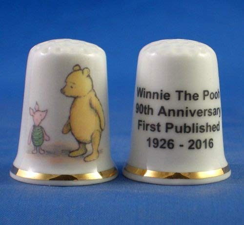 Porcelain China Collectable Thimble - Winnie the Pooh 90th Anniversary -- Free Gift Box Birchcroft China