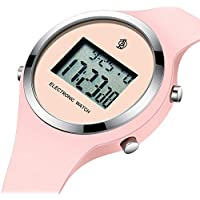 Watch, Girls Digital Jelly Watch Elegant Sports Waterproof Watch,Simple Cute Wrist Watches with Alarm Stopwatch Outdoor LED Multi Functional Wrist Watches (Pink)