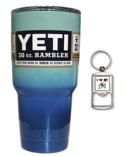 YETI Coolers Custom Powder Coated Stainless Steel 30 Ounce (30oz) (30 oz) Rambler Tumbler Cup Mug with Lid and Free Bottle Opener Keychain (Seafoam Blue Ocean Ombre Fade)
