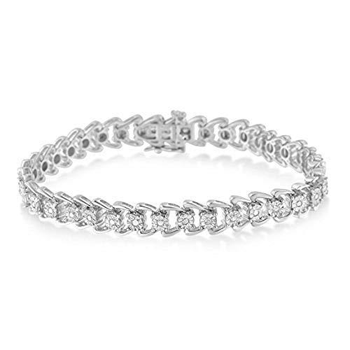 Sterling Silver Diamond Wave Style Tennis Bracelet 0.5 cttw, I-J Color, I3 Clarity