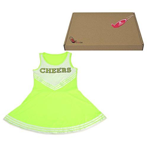 maboobie Tenue Complete Debardeur Jupe a Volant Pom-Pom Girls Cheerleader Vert av/ 2 Pompons M (34-36)