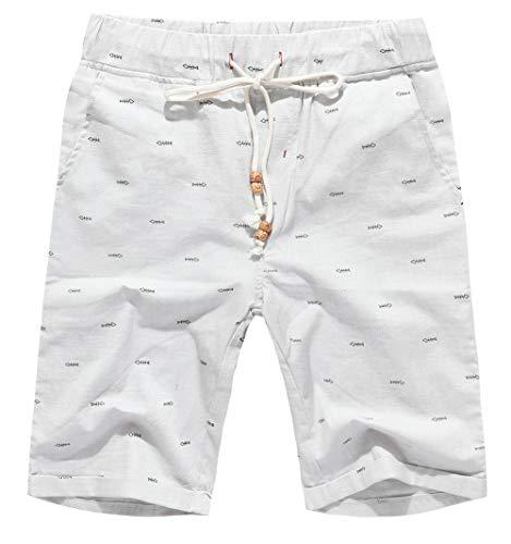 Boisouey Men's Linen Casual Classic Fit Short White Fish Bone XL ()
