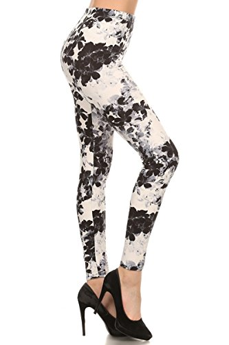 Leggings Depot NEW High Waist Popular Print Women's Leggings Pants Style Batch4 (Black Floral)