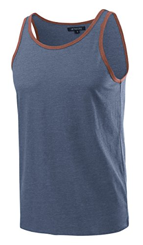 HETHCODE Men's Classic Basic Athletic Jersey Tank Top Casual T Shirts Cadet Blue/Rusty L