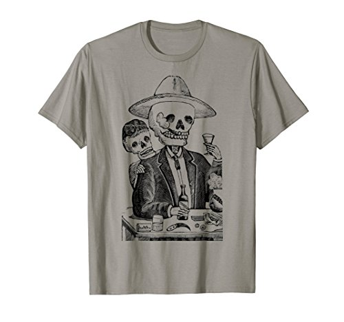 Mintage Tequila Drinking Skeleton T-Shirt]()