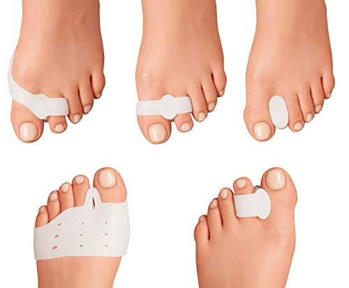 Dr. Feel Good Feet 10 Piece Bunion Corrector and Bunion Relief - Metatarsal Pads for Women - Ball of Foot Cushions - Toe Spacers / Separators Bunion Pads for Shoes / Cushion - Bunion Sleeve - Gel Pad