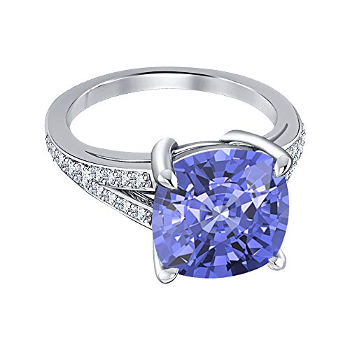 (Engagement 4-Prong Halo Ring 4.00Ctw Cushion Cut Tanzanite & CZ Diamond 14k White Gold Over .925 Sterling Silver for Womens)