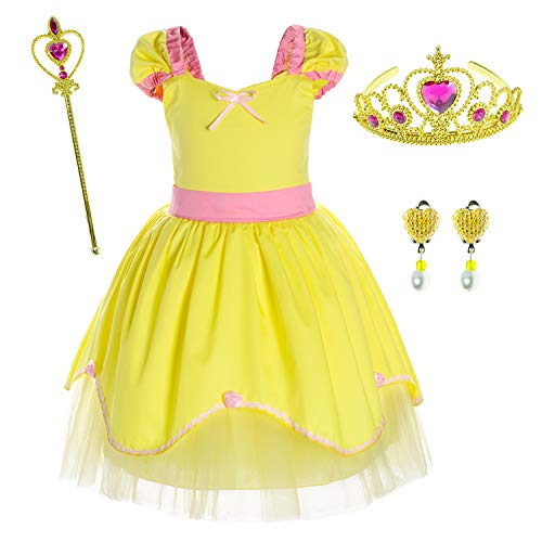 Princess Belle Costume Birthday Party Dress for Toddler Girls 3-4 Years (3T 4T) ()