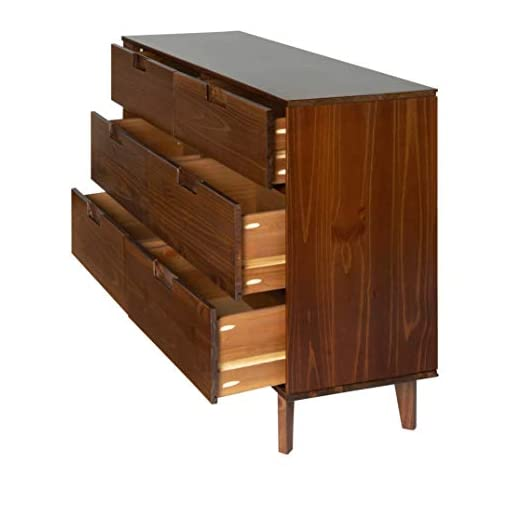 Bedroom 6 Drawer Mid Century Modern Wood Dresser – Walnut